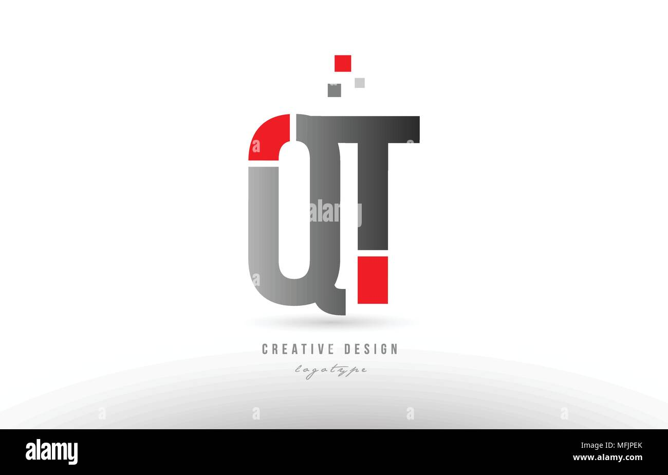 red grey alphabet letter qt q t logo combination design suitable for a company or business - Stock Image