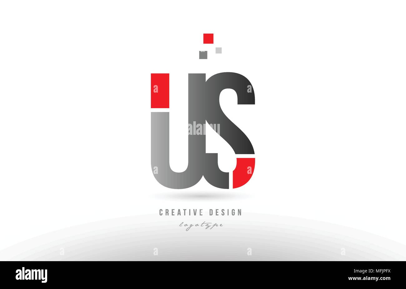 red grey alphabet letter us u s logo combination design suitable for a company or business - Stock Vector