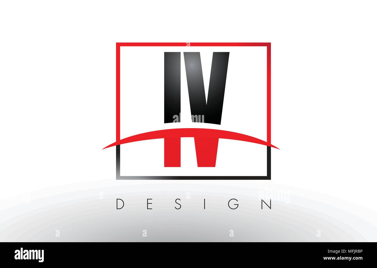 IV I V Logo Letters with Red and Black Colors and Swoosh. Creative Letter Design Vector. - Stock Vector