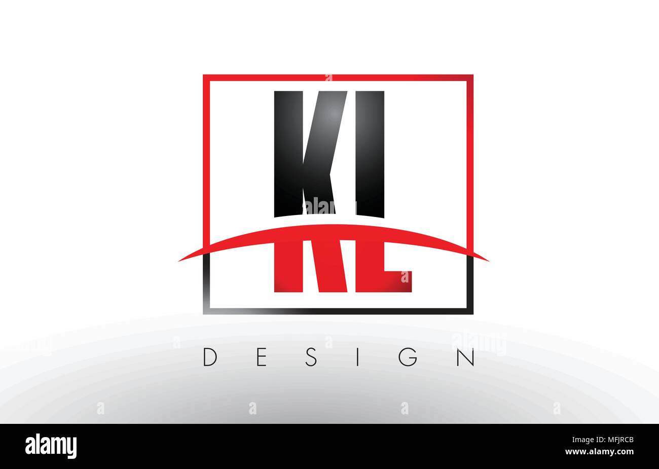 KL K L Logo Letters with Red and Black Colors and Swoosh. Creative Letter Design Vector. - Stock Vector