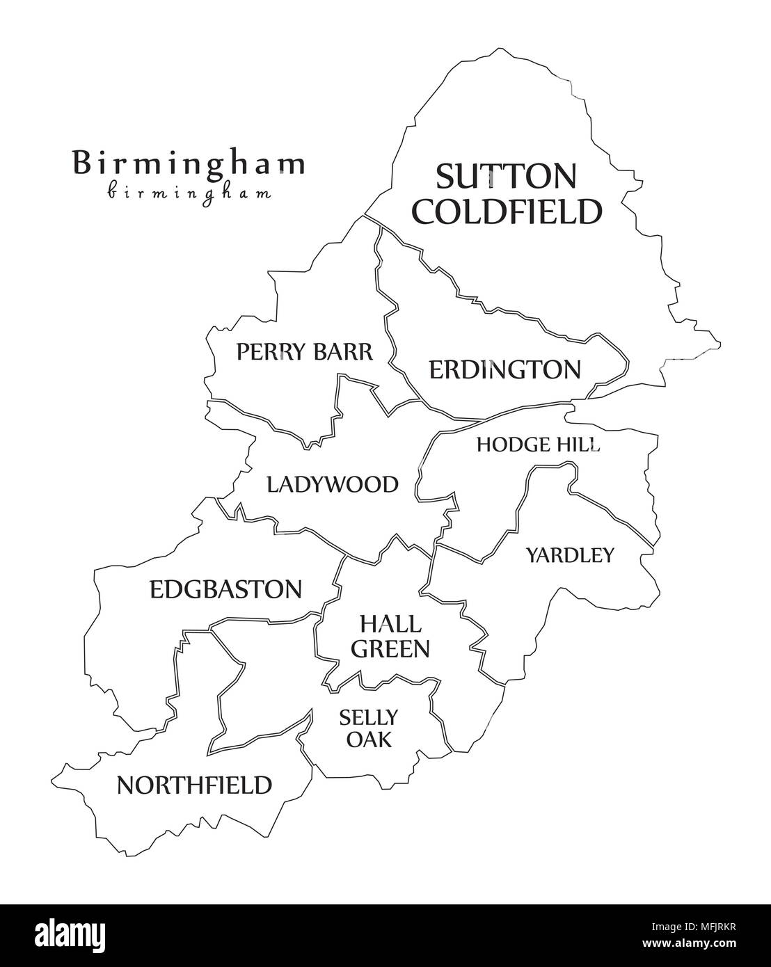 Map Of Birmingham England.Modern City Map Birmingham City Of England With Boroughs And
