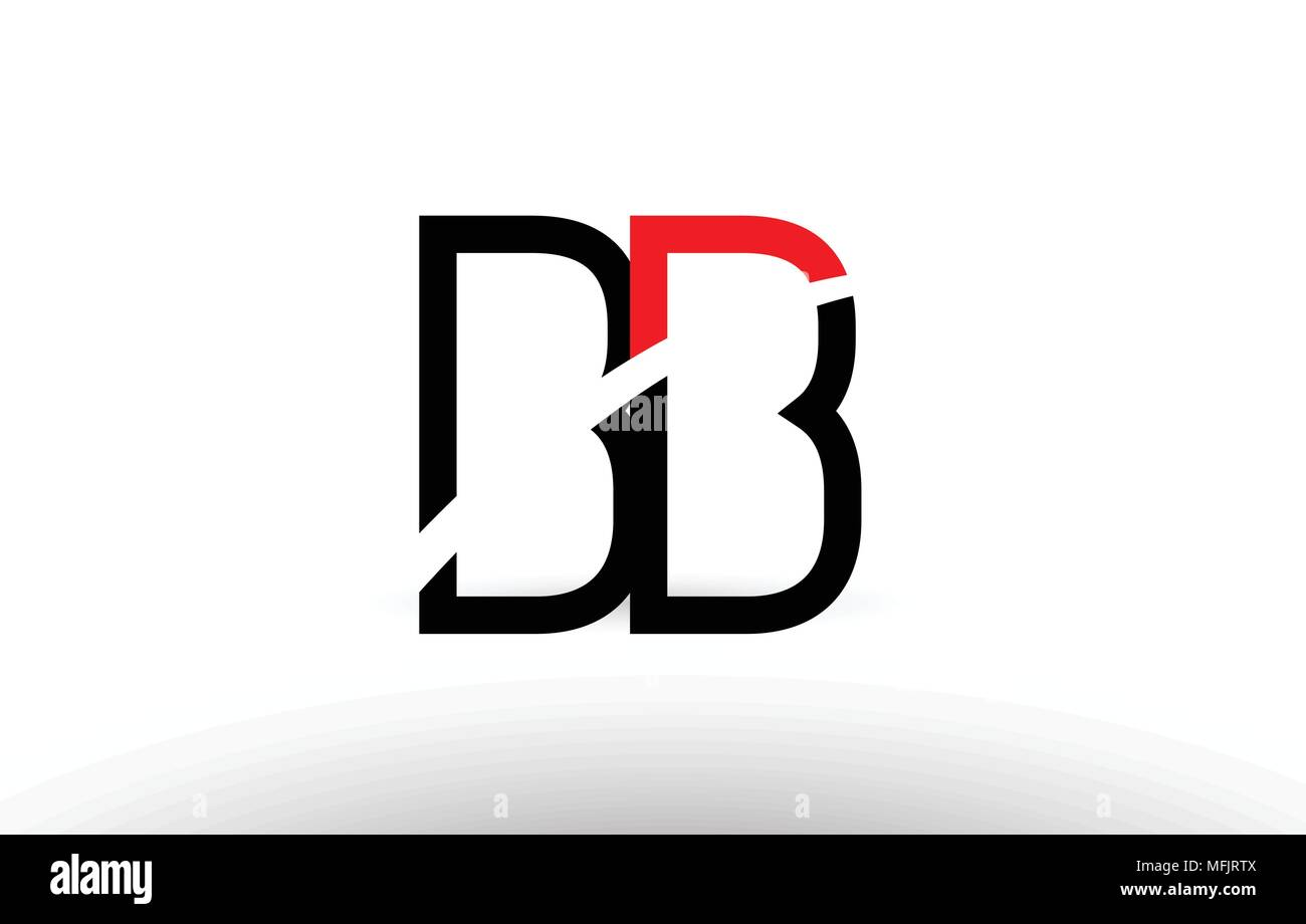 Black White And Red Alphabet Letter Bb B B Logo Combination Design