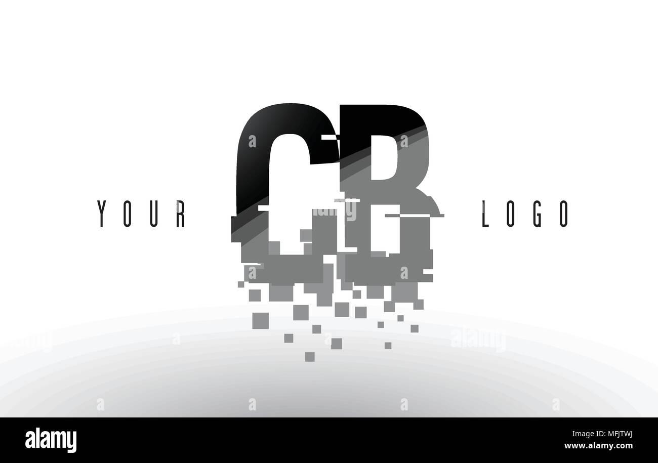 CB C B Pixel Letter Logo with Digital Shattered Black