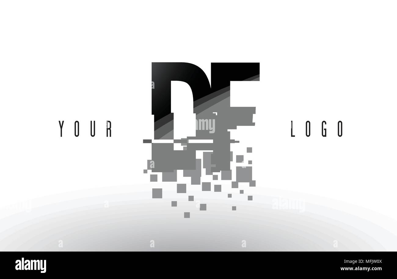 Df D F Pixel Letter Logo With Digital Shattered Black Squares