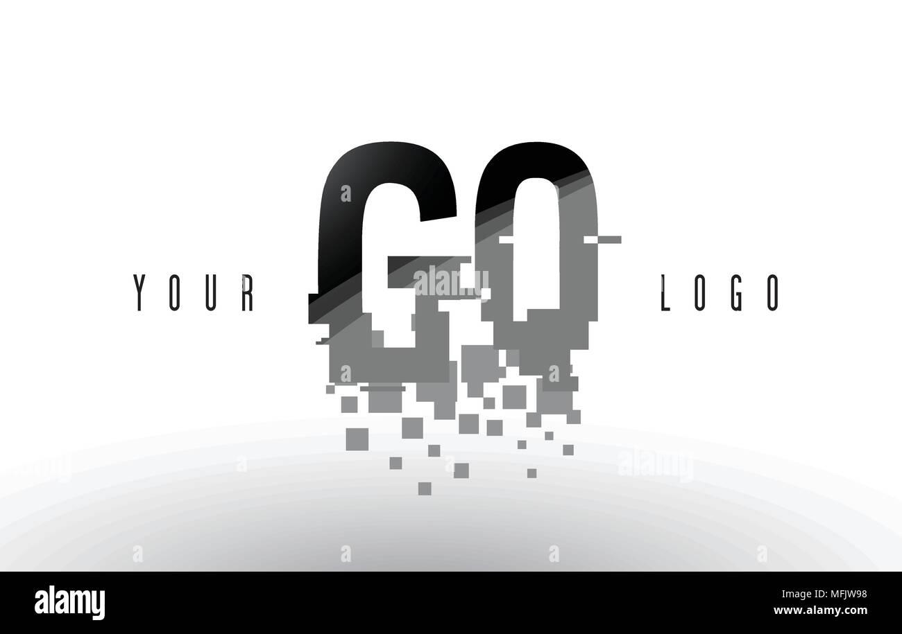 GQ G Q Pixel Letter Logo with Digital Shattered Black