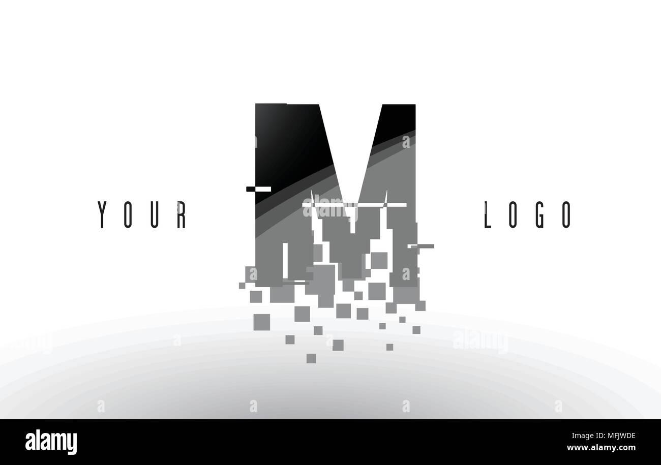 im i m pixel letter logo with digital shattered black squares  creative  letters vector illustration
