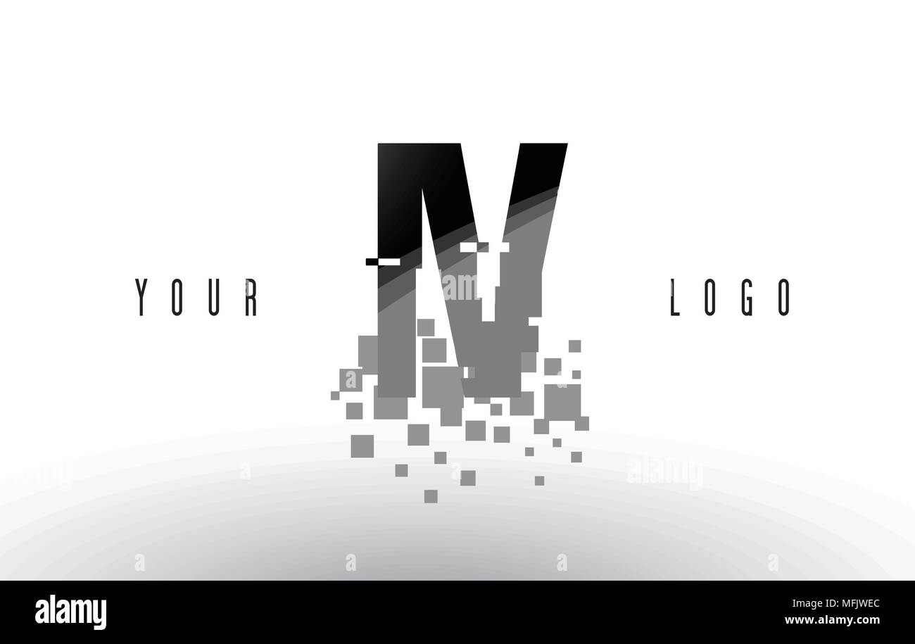 IV I V Pixel Letter Logo with Digital Shattered Black Squares. Creative Letters Vector Illustration. - Stock Vector