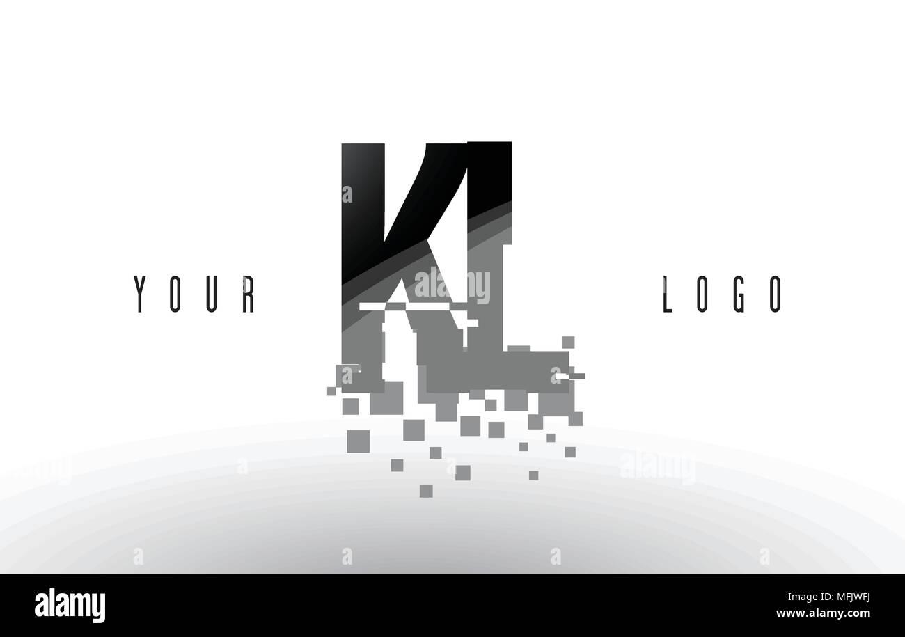 KL K L Pixel Letter Logo with Digital Shattered Black Squares. Creative Letters Vector Illustration. - Stock Vector