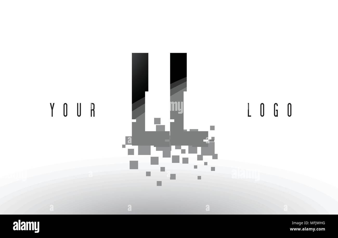 LL L Pixel Letter Logo with Digital Shattered Black Squares
