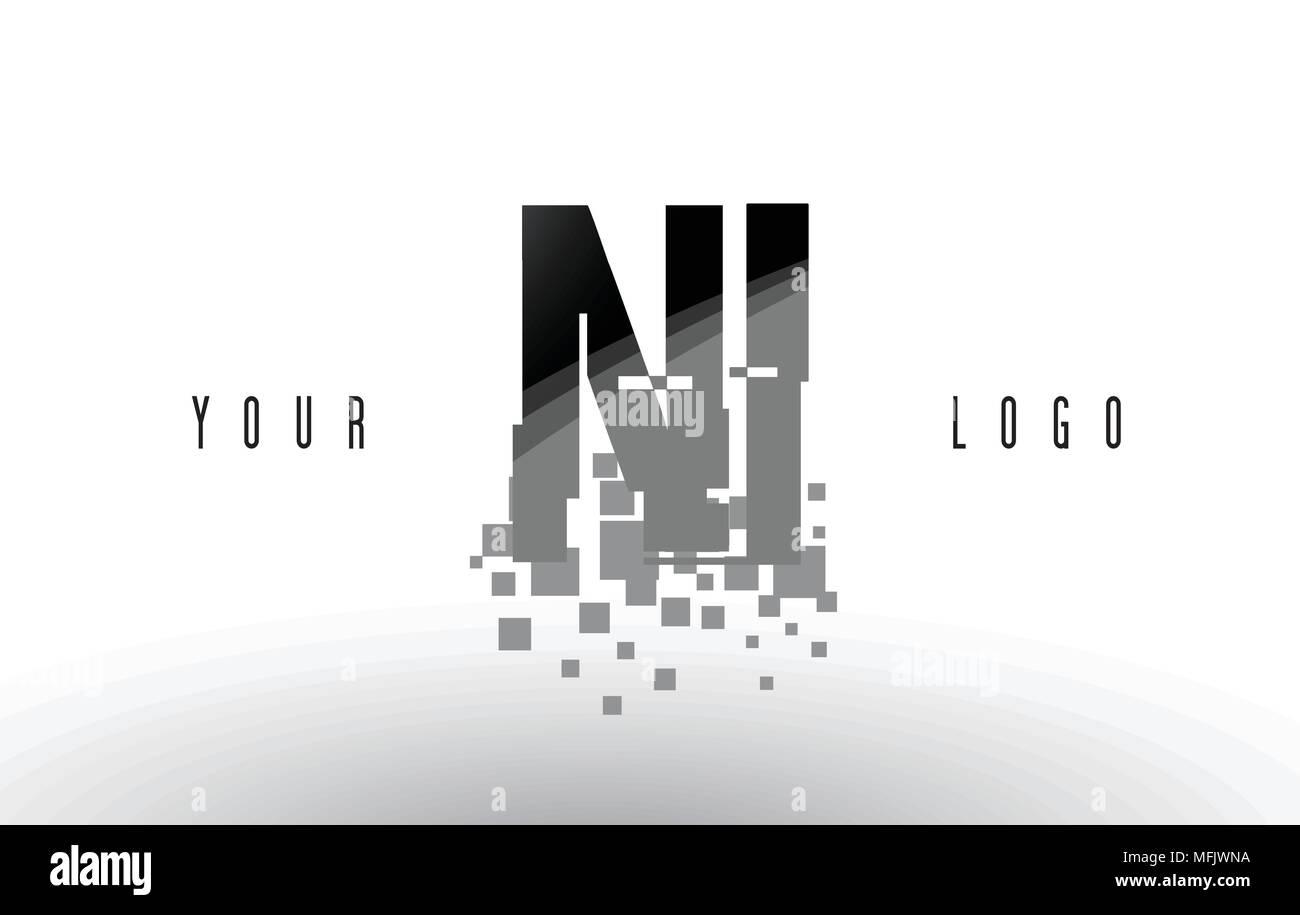 NI N I Pixel Letter Logo with Digital Shattered Black