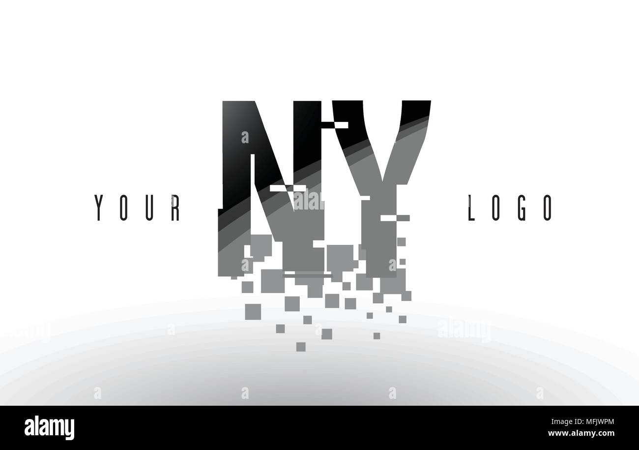 NY N Y Pixel Letter Logo with Digital Shattered Black