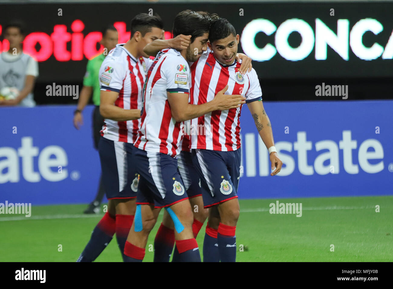 low priced 38ff3 3efcd Chivas player Orbelin Pineda (R) celebrates after scoring ...