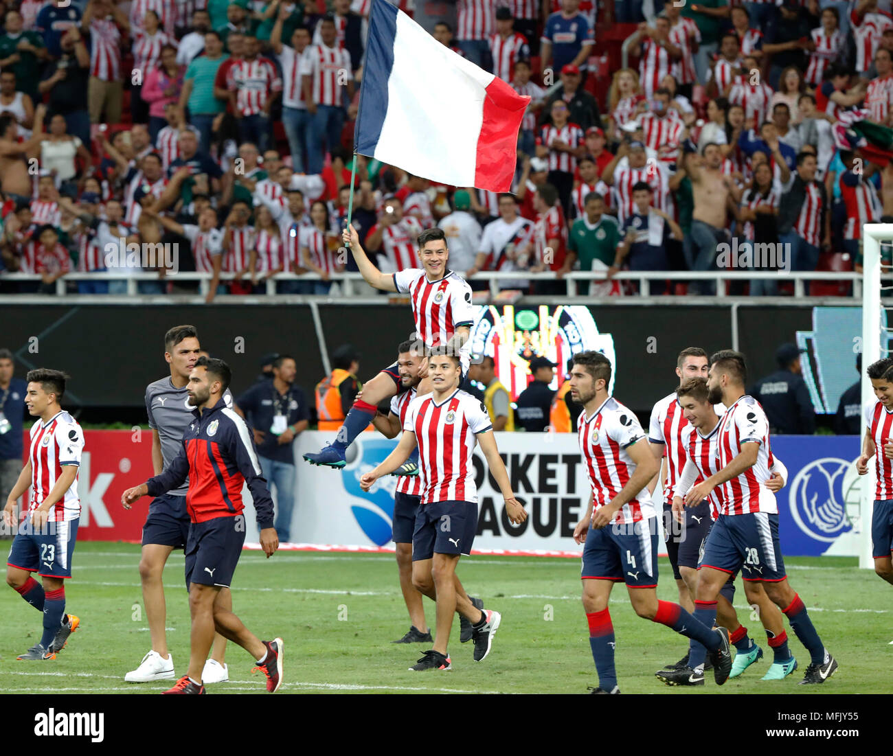 the players of the chivas de guadalajara of mexican soccer celebrate