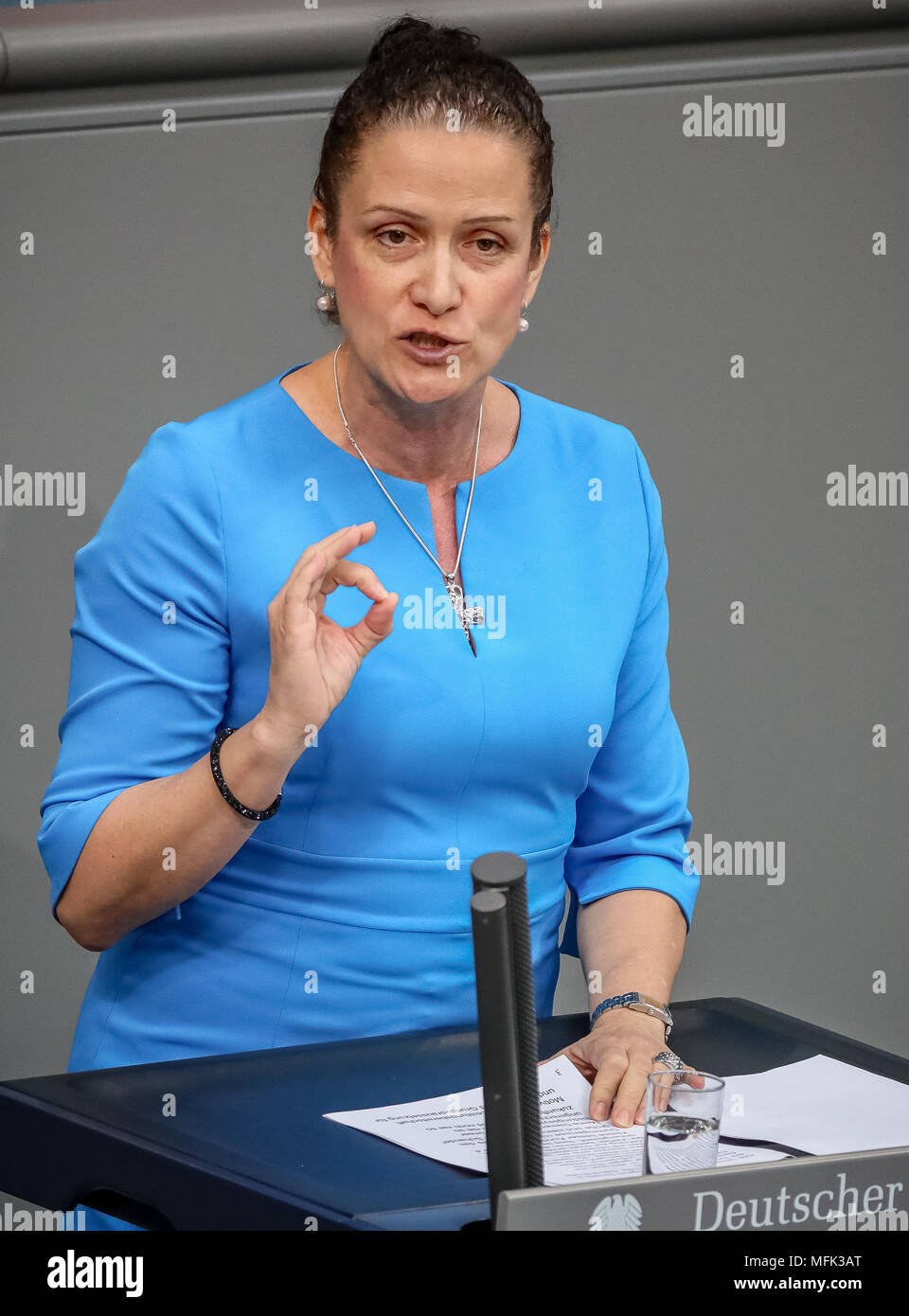 26 April 2018 Germany Berlin Nicole Hoechst Alternative For Germany Speaks During A Meeting In The Plenary Hall Of The Bundestag Parliament The Parliament Debates Over Israel On The Occasion Of The