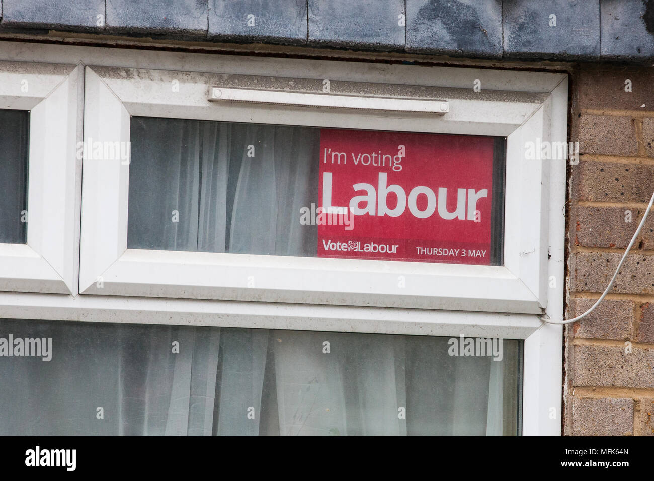 West Drayton, UK. 26th April, 2018. A Labour Party poster displayed in a window in Hillingdon in advance of voting for the local elections. Credit: Mark Kerrison/Alamy Live News - Stock Image