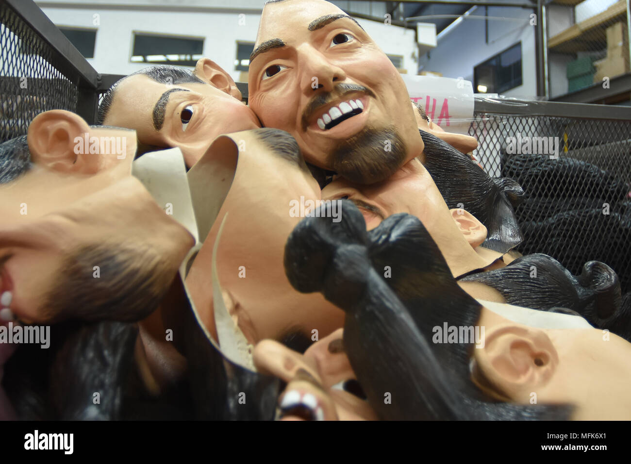 Zlatan's latex mask seen in a Mexico's factory after hearing the news that  soccer star Zlatan