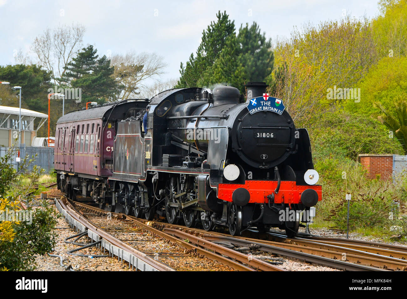 Weymouth, Dorset, UK.  26th April 2018.  The Great Britain XI excursion train hauled by steam locomotives 31806, pictured at the front of the train, and 45212 at the rear of the train, not pictured, arrives at Weymouth Station at the Dorset leg of the 9 day round Britain trip.  Picture Credit: Graham Hunt/Alamy Live News Stock Photo