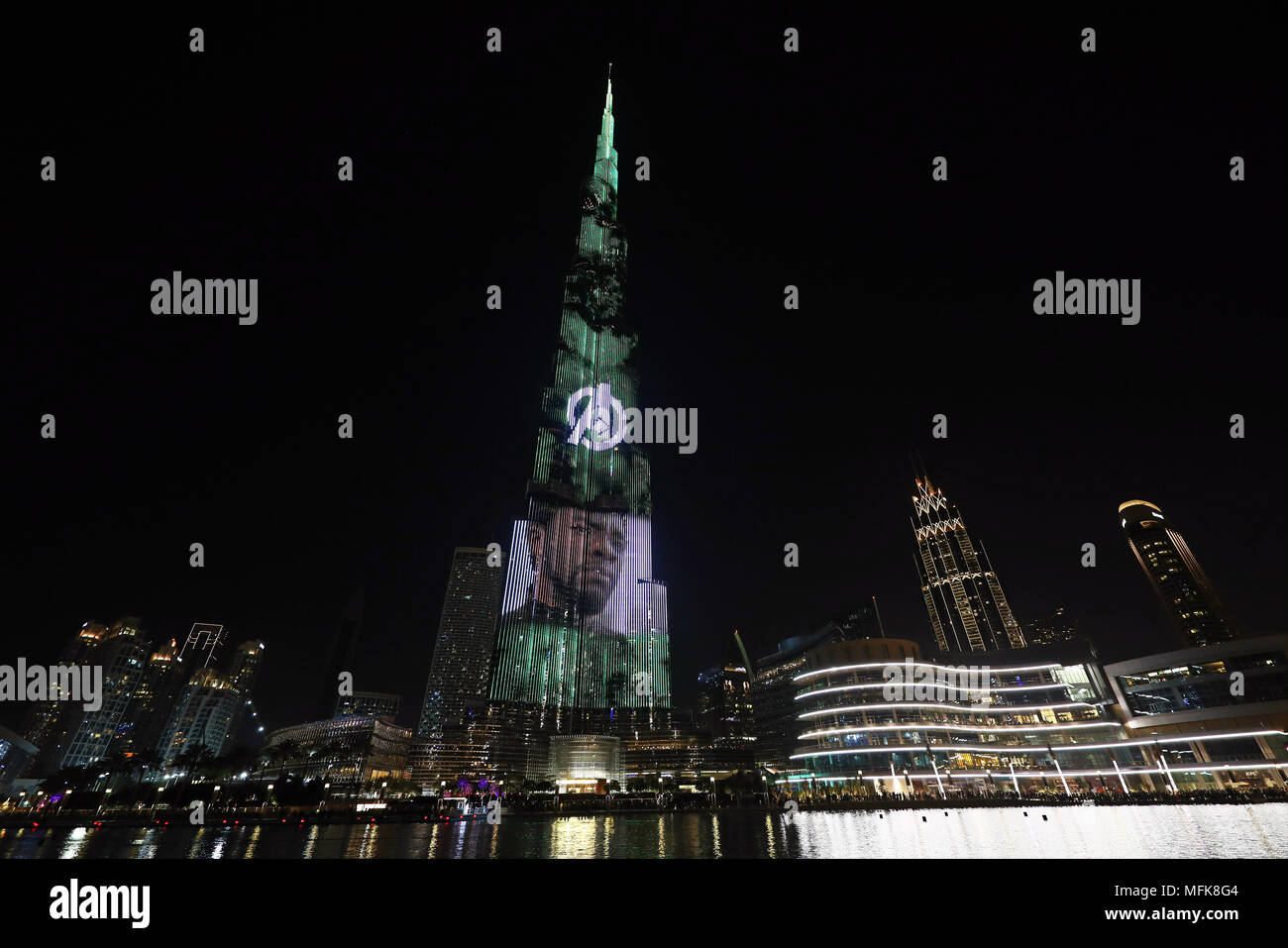 Dubai, UAE. 26th April 2018. Chadwick Boseman as the Black Panther. The Burj Khalifa, the world's tallest building, was illuminated with film scenes from Marvel's Avengers Infinity War to promote the launch of the film in Dubai, UAE. Credit: Paul Brown/Alamy Live News - Stock Image