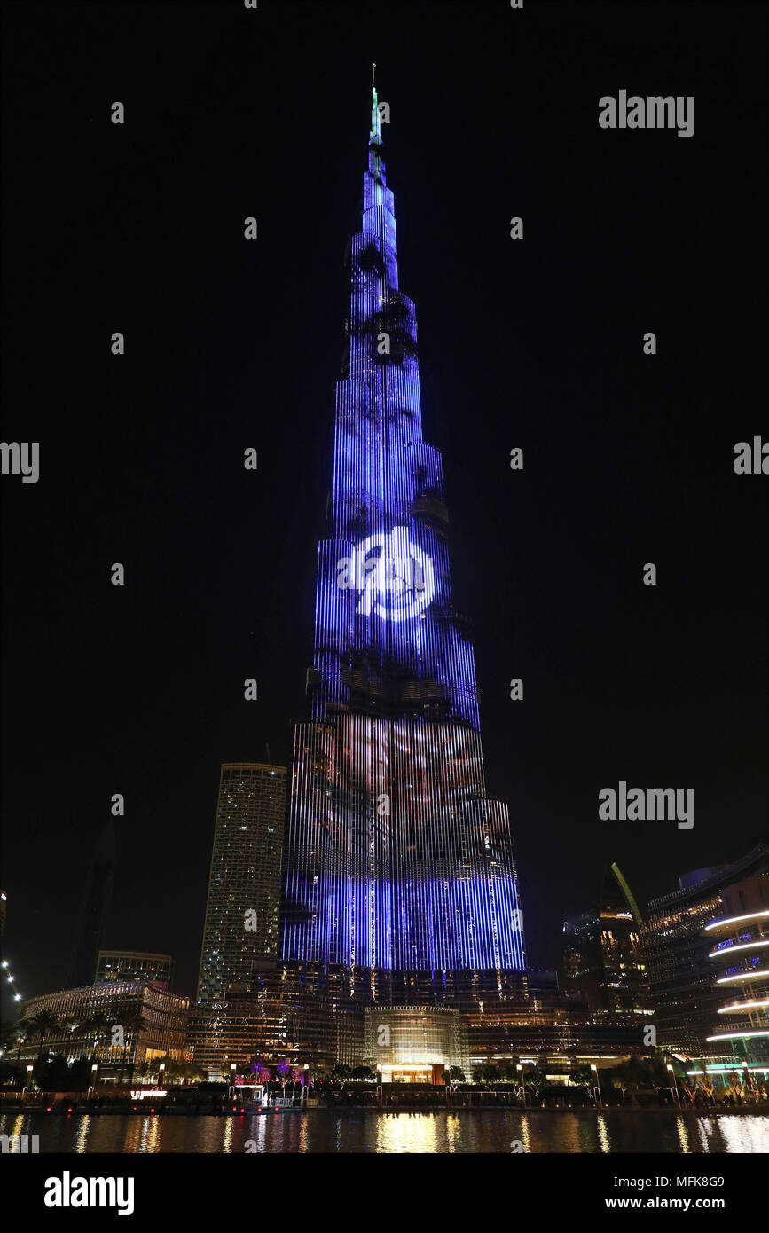 Dubai, UAE. 26th April 2018. Chris Evans as Captain America. The Burj Khalifa, the world's tallest building, was illuminated with film scenes from Marvel's Avengers Infinity War to promote the launch of the film in Dubai, UAE. Credit: Paul Brown/Alamy Live News - Stock Image