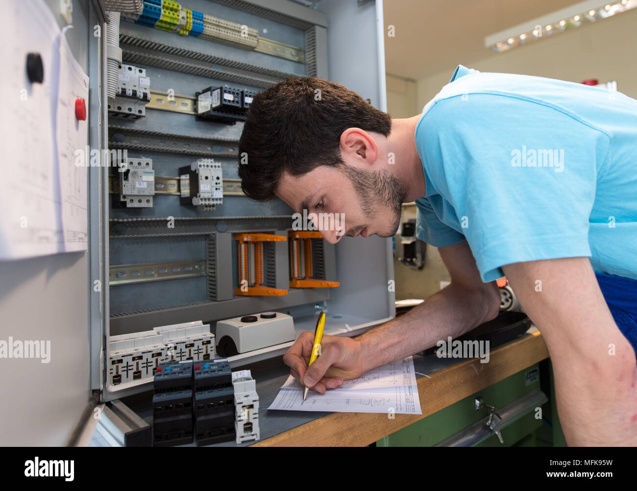 26 April 2016 Germany Leipzig Ahmad 20 From Syria Working On Wiring Enclosure In An Electrical At The Training Centre Of Siemens Professional Education A