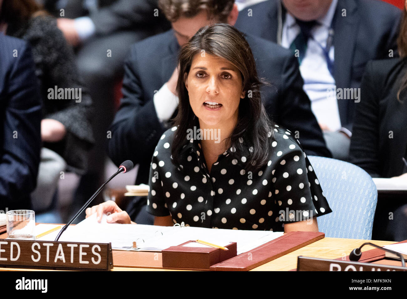 New York City, USA. 26th Apr, 2018. Nikki Haley, United States Ambassador to the United Nations, at the United Nations Security Council. Credit: SOPA Images Limited/Alamy Live News - Stock Image