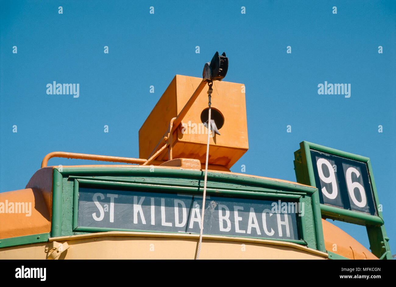 Destination sign and route number of the number 96 W-class tram to St Kilda Beach, Saint Kilda, Melbourne, Victoria, Australia Stock Photo