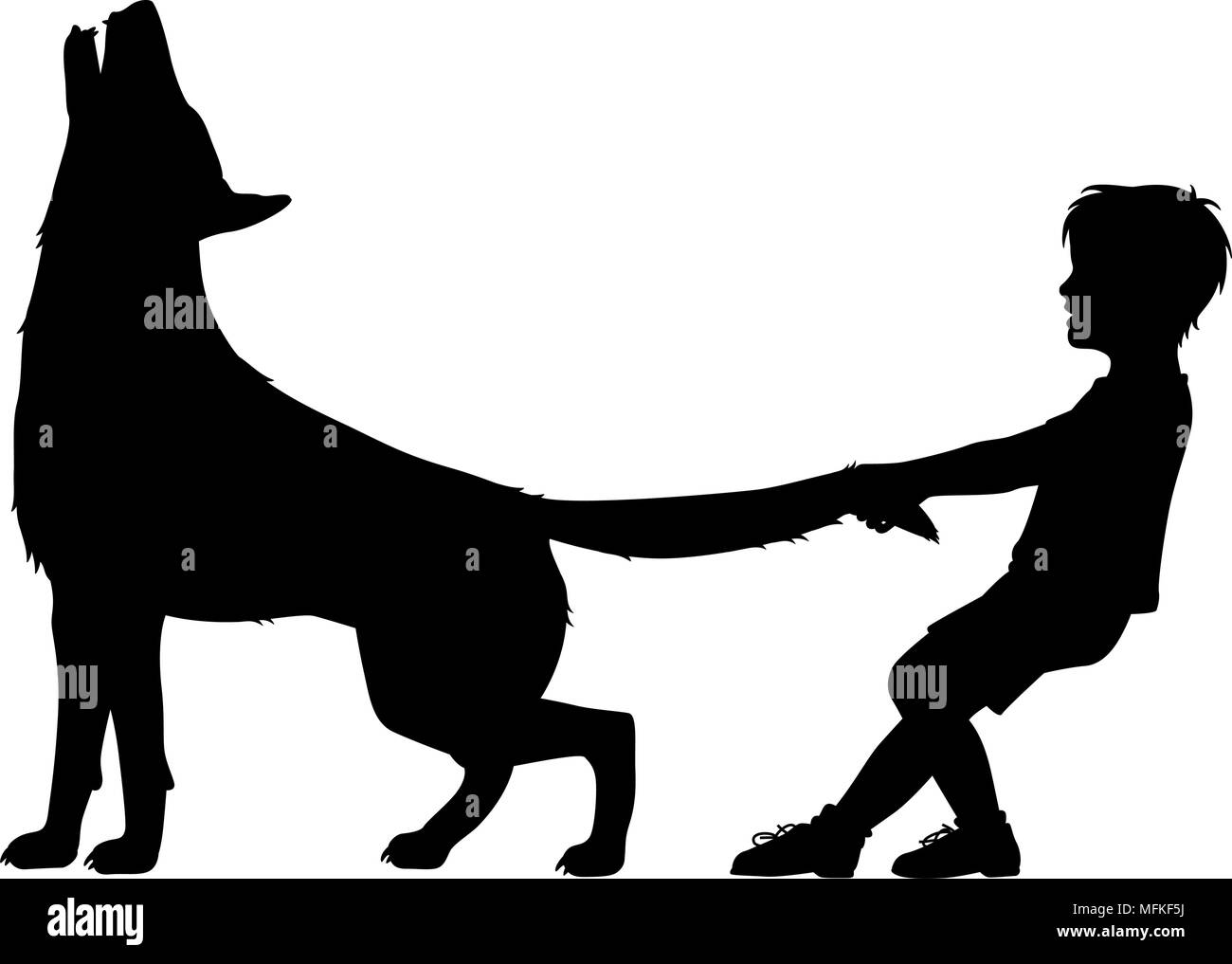 Editable vector silhouette illustration of a boy pulling the tail of a howling wolf with figures as separate objects Stock Vector