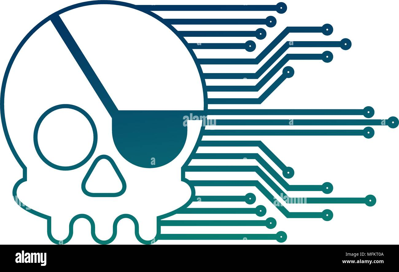 Electronic Circuits Stock Vector Images Alamy Mfk Keyless Entry Wiring Diagram Cyber Security Skull Piracy Crime Technology