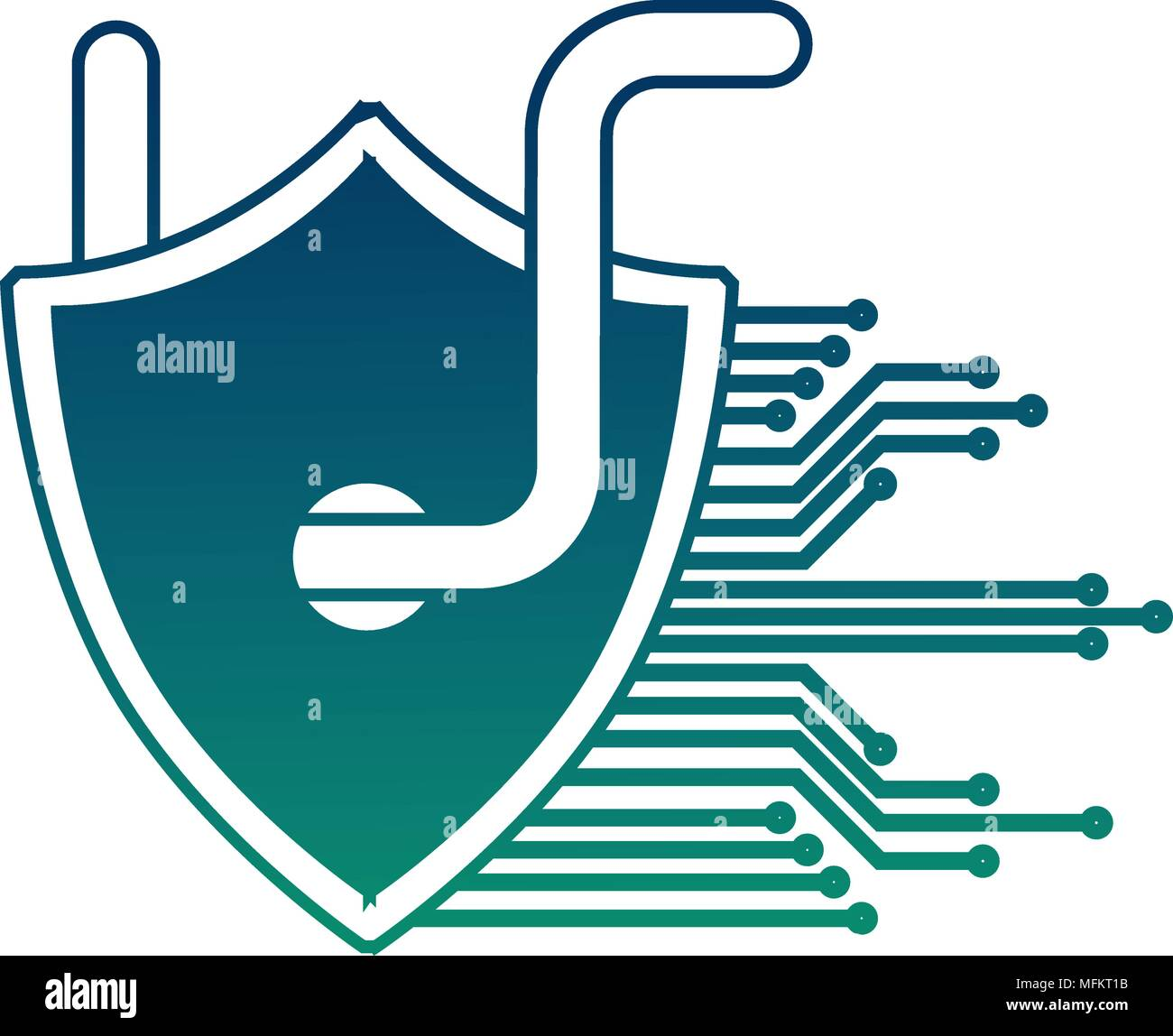 cyber security shield protection worm virus circuit technology hacking - Stock Image