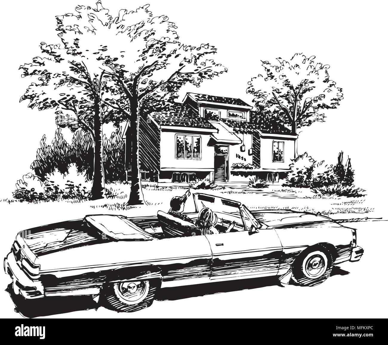 Leisurely Drive - Retro Clipart Illustration - Stock Vector