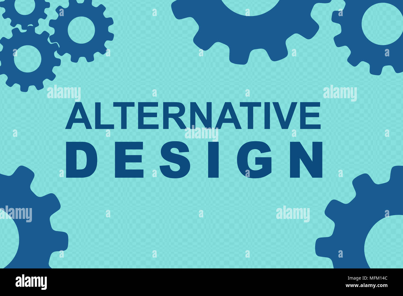 ALTERNATIVE DESIGN Sign Concept Illustration With Blue Gear Wheel Figures On Pale Background
