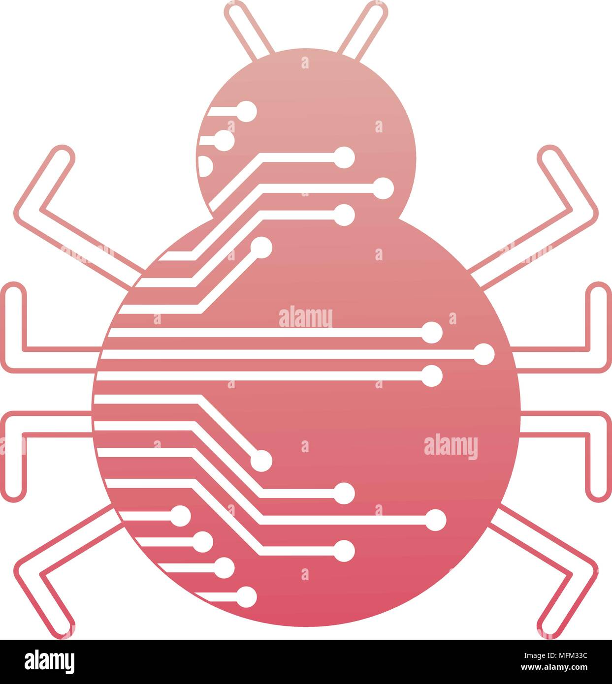 cyber security virus bug attack system - Stock Image