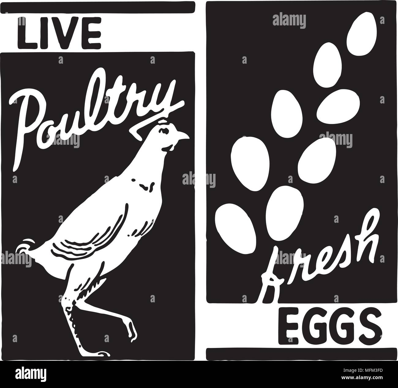 Live Poultry - Retro Ad Art Banner - Stock Vector