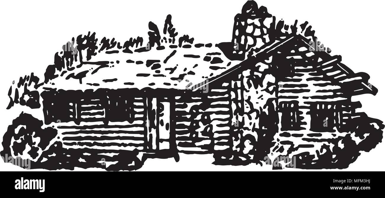 Log Cabin - Retro Ad Art Illustration - Stock Vector