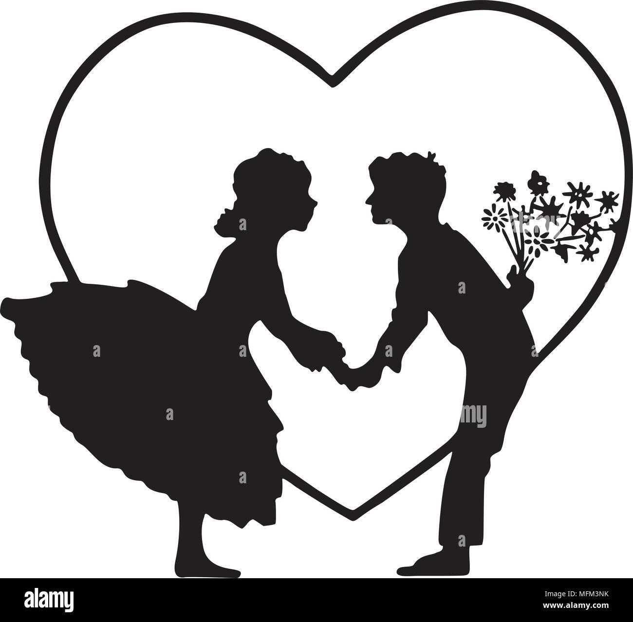 Lovers In Heart Silhouette - Retro Clipart Illustration