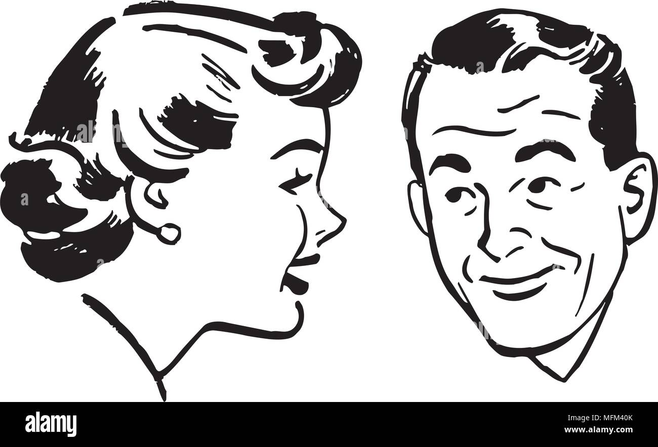 Man And Woman Chatting - Retro Clipart Illustration - Stock Image