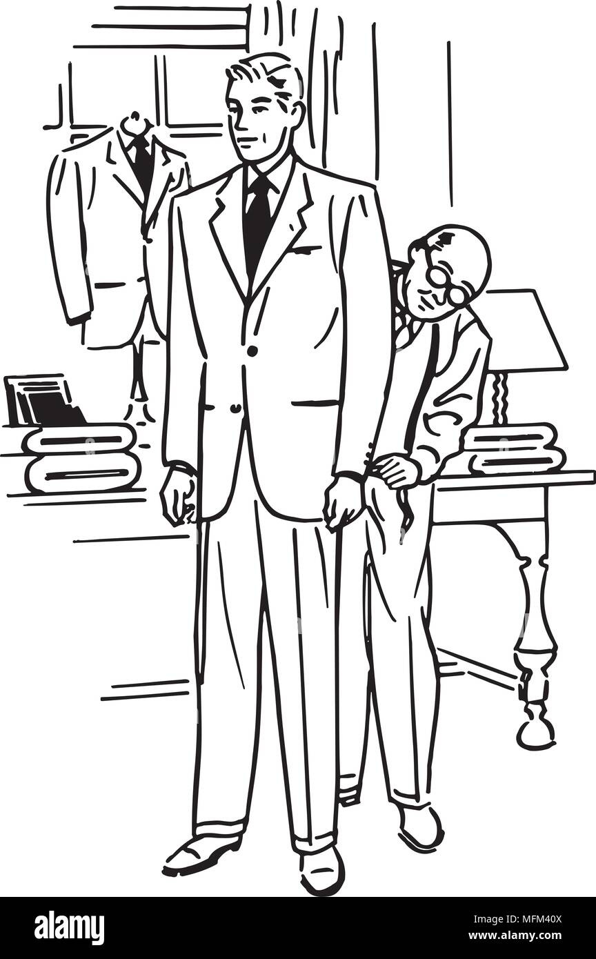 Man Being Fitted For Suit - Retro Clipart Illustration - Stock Image
