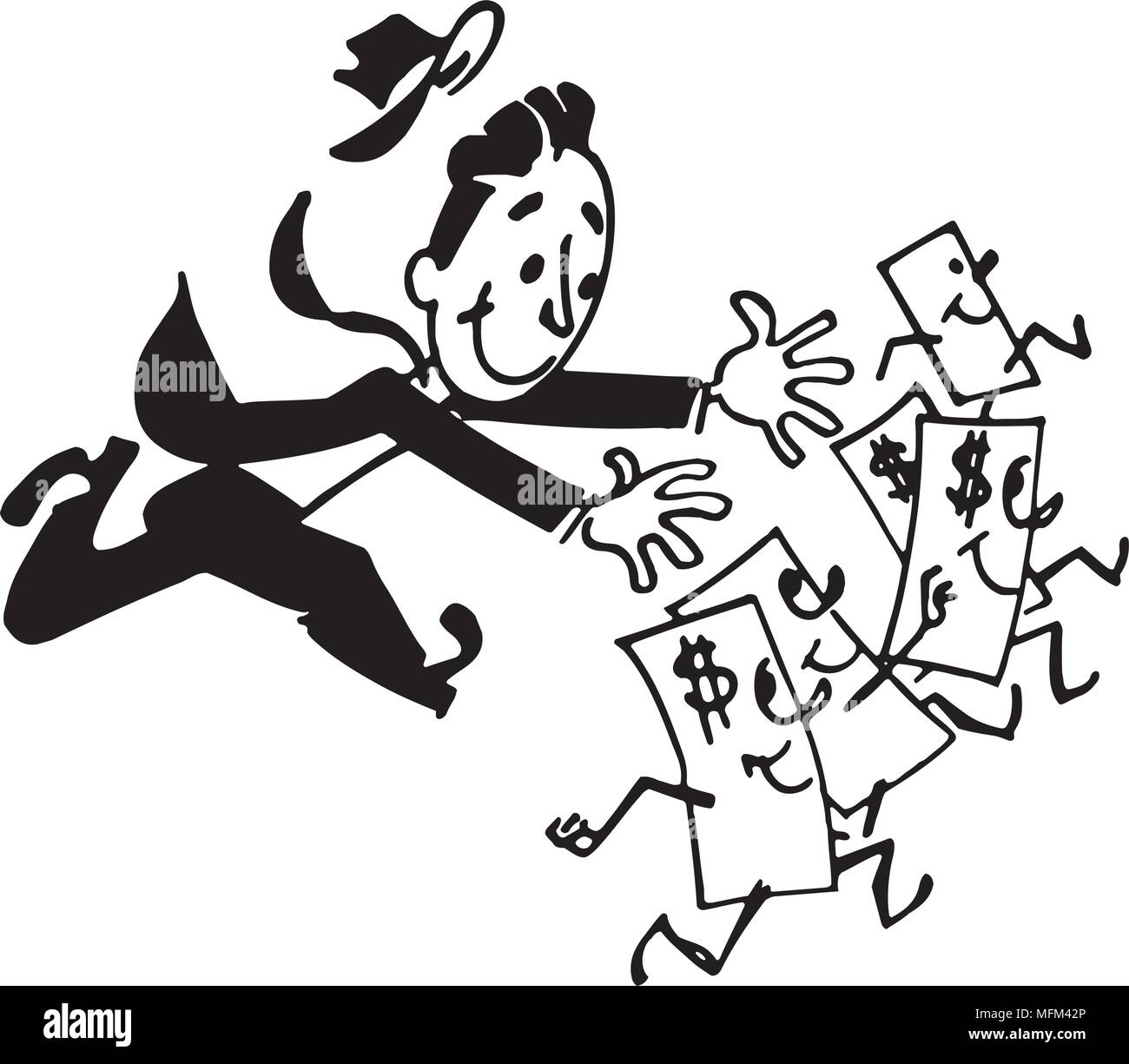 Man Chasing Money - Retro Clipart Illustration - Stock Image