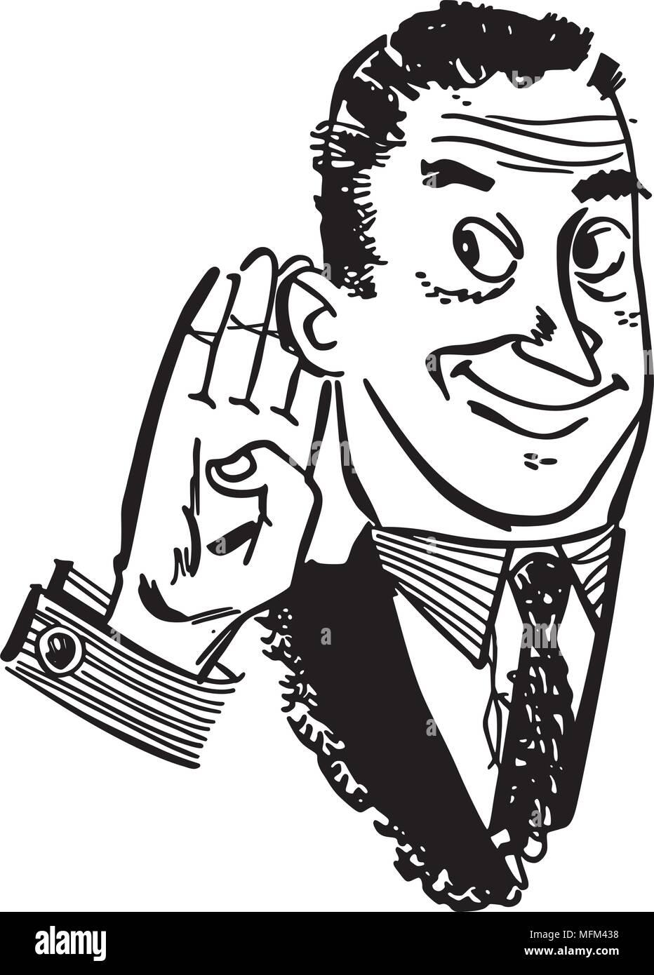 Man Cupping Ear - Retro Clipart Illustration - Stock Image