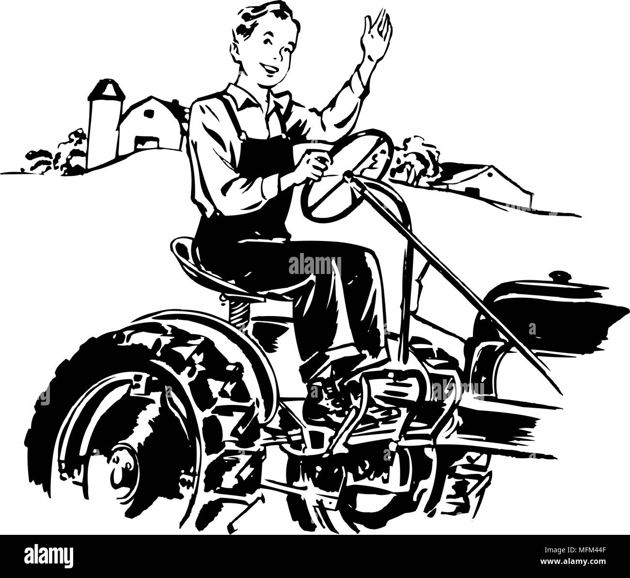 clip art 1950 s and man black and white stock photos images alamy Vintage Retro Clip Art man driving tractor retro clipart illustration stock image