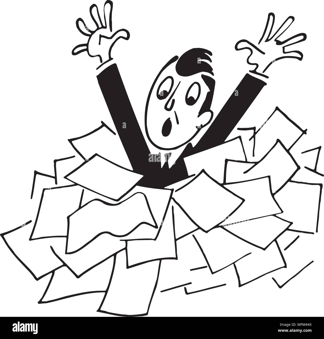 man drowning in papers - retro clipart illustration stock vector art