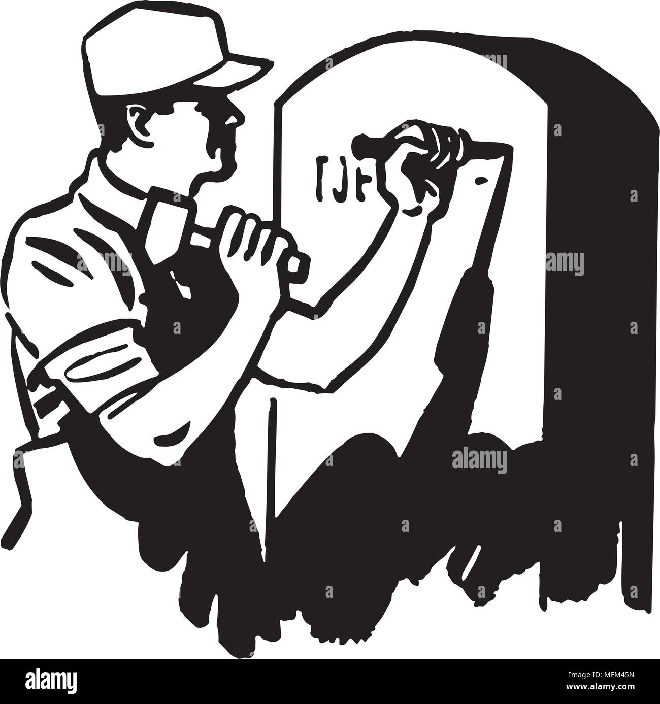 Man Engraving Tombstone - Retro Clipart Illustration - Stock Image