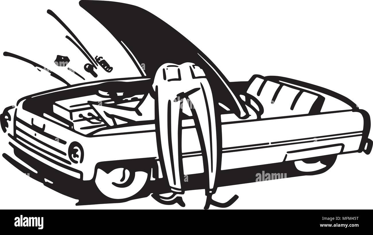 Man Fixing Car - Retro Clipart Illustration - Stock Vector