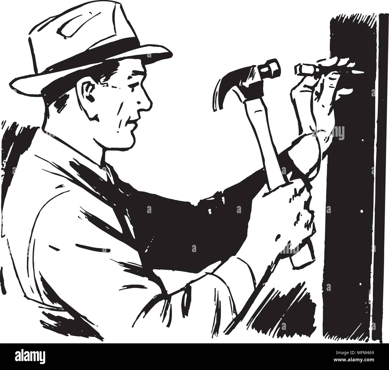 Man Hammering Nail - Retro Clipart Illustration - Stock Image