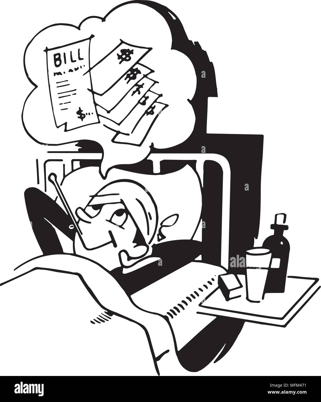 Man In Hospital - Retro Clipart Illustration - Stock Image