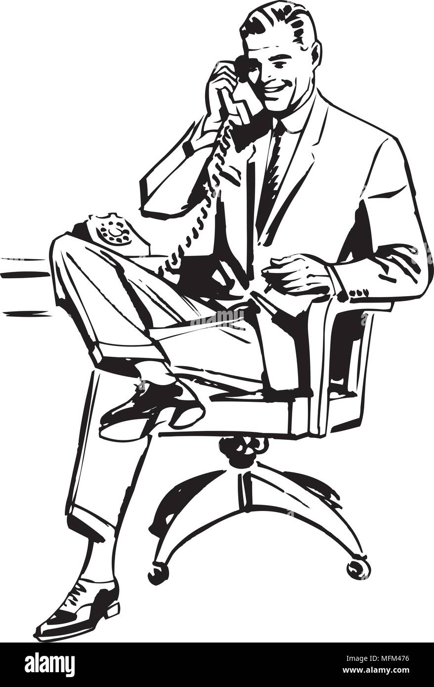 Man In Office Chair - Retro Clipart Illustration - Stock Image