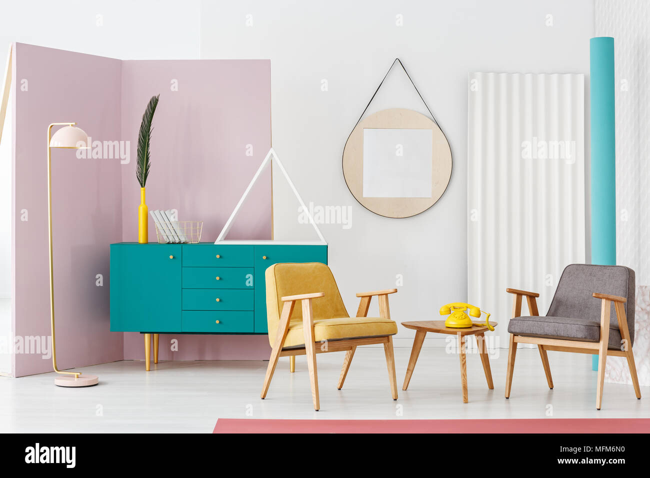 Creative, pastel pink floor lamp in a modern and colorful retro ...
