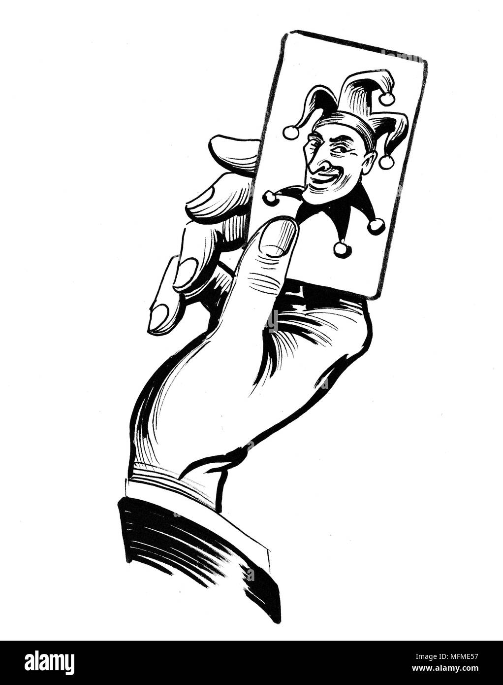 Hand with a joker card ink black and white drawing