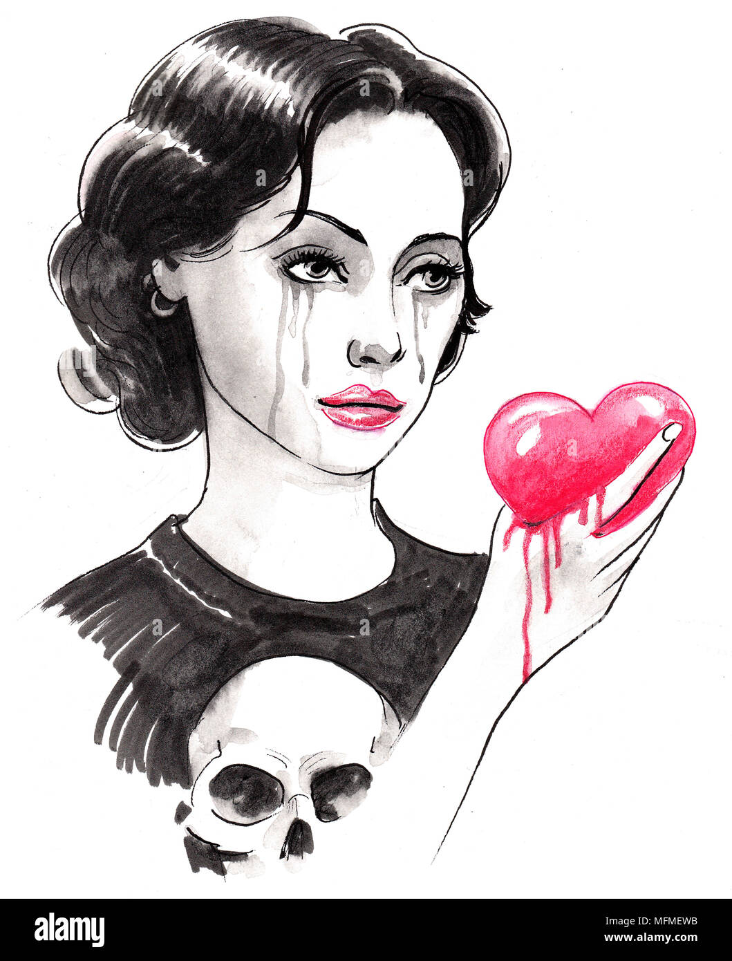 Crying girl with a bleeding heart ink black and white