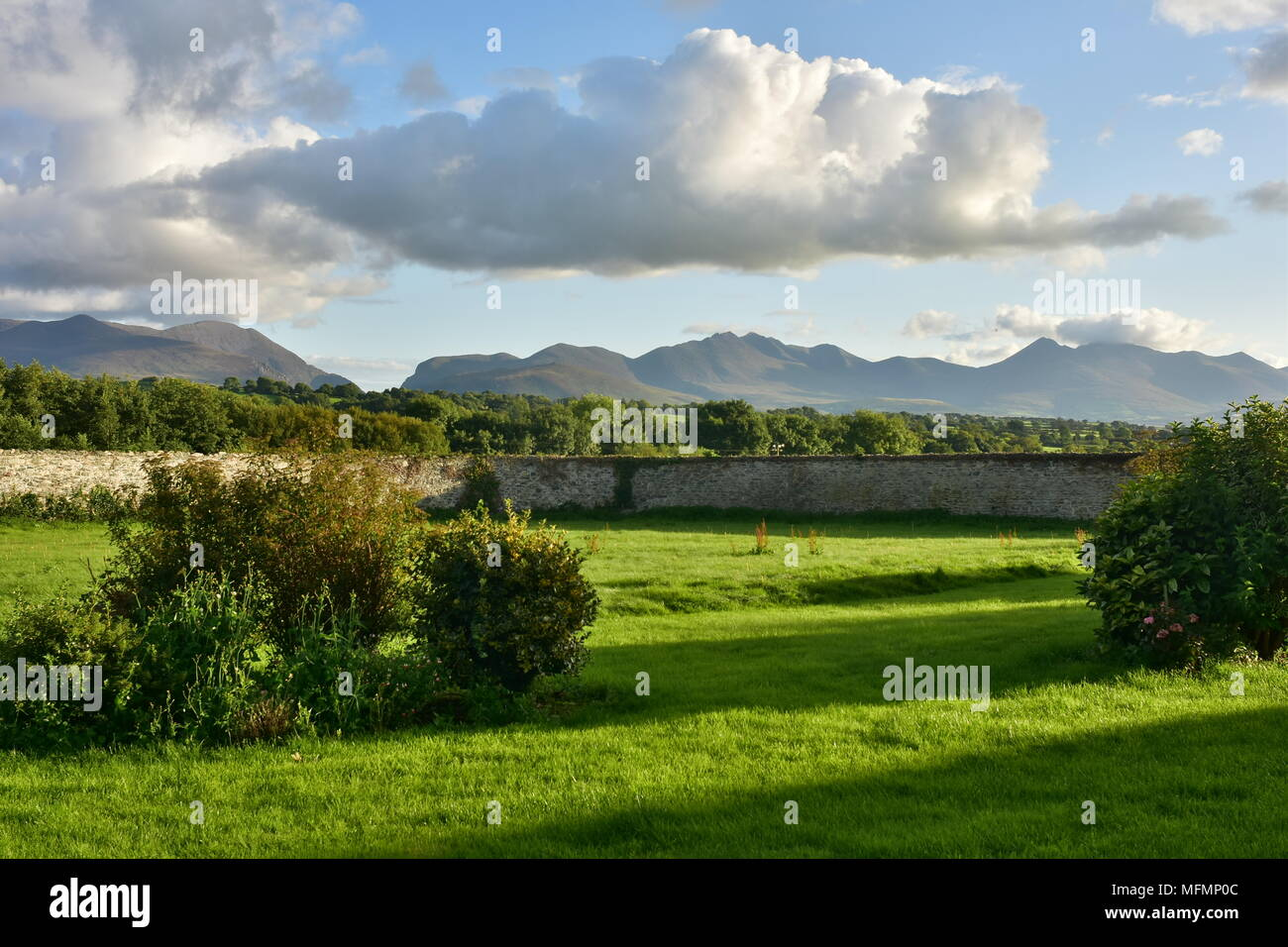 Fresh green meadows surrounded by stone walls with hills blending with clouds in far background in countryside of County Kerry in Ireland. Stock Photo
